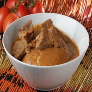 Pounded Yam with Groundnutsoup and Meat