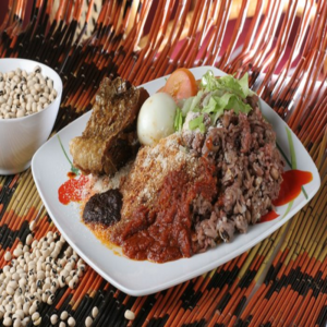 Waakye with Fish and Stew