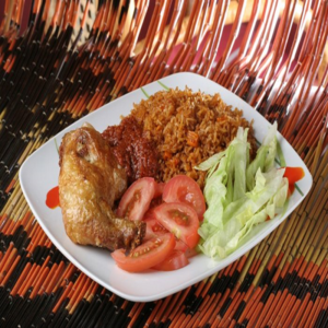 Yellow Rice with Chicken and Salad