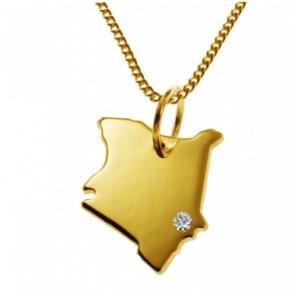 50cm Halskette + Kenia Anhänger mit einem Brillant 0,015ct an Ihrem Wunschort in massiv 585 Gelbgold